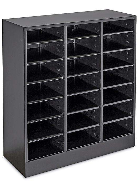 """Mail Sorter - Steel with Adjustable Slots, 21 Compartment, 12"""" Deep H-7163"""