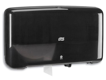 Tork® Mini Jumbo Bath Tissue Dispenser - Plastic, Double Roll, Black H-7177BL