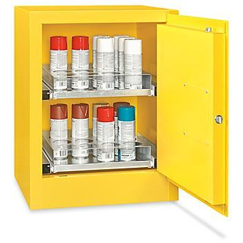 Aerosol Flammable Storage Cabinet - Manual Door, Yellow, 24 Can H-7295