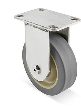 """Stainless Steel Rubber Caster - Rigid, 4 x 1 1/4"""" H-7446R"""