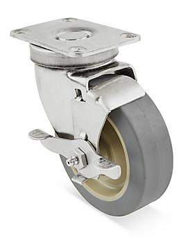 """Stainless Steel Rubber Caster - Swivel with Brake, 4 x 1 1/4"""" H-7446SWB"""