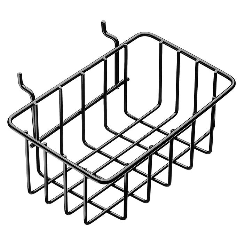 "Pegboard Wire Basket - 8 3/8"" Wide, Black H-7560"