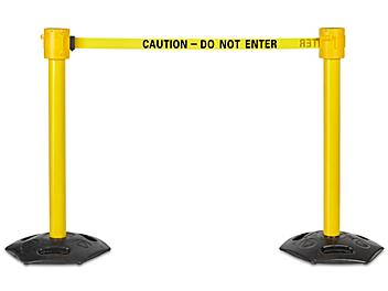 """Outdoor Crowd Control Posts with Retractable Belt - """"Caution - Do Not Enter"""", 35' H-7865"""