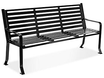 Terrace Bench with Back - 6', Black H-7930BL