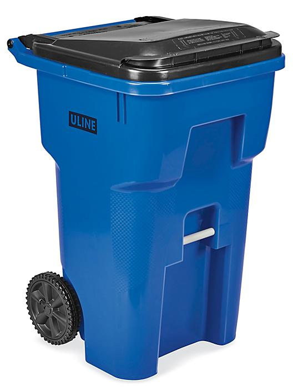 Uline Trash Can with Wheels - 65 Gallon, Blue H-7937BLU