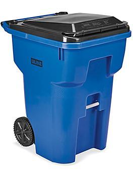 Uline Trash Can with Wheels - 95 Gallon, Blue H-7938BLU