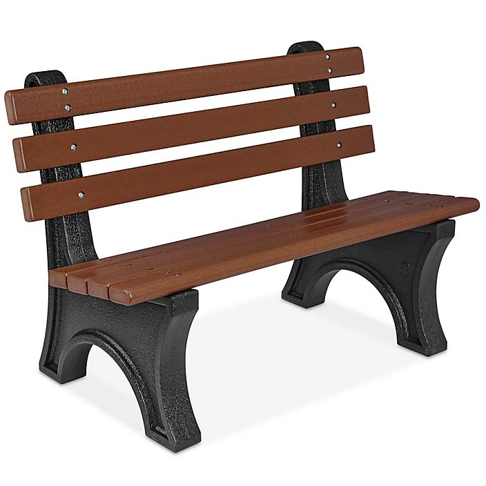 Recycled Plastic Bench with Back - 4', Brown H-7941BR