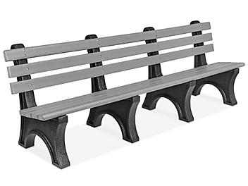 Recycled Plastic Bench with Back - 8', Gray H-7942GR