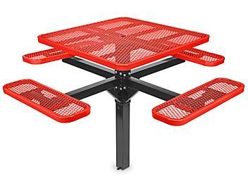 "Inground Mount Picnic Table - 46"" Square, Red H-7951R"