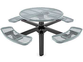 "Inground Mount Picnic Table - 46"" Round, Gray H-7952GR"