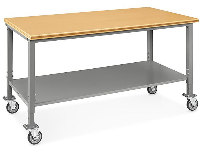 """Mobile Heavy-Duty Packing Table - 72 x 36"""", Composite Wood Top H-8020-WOOD"""