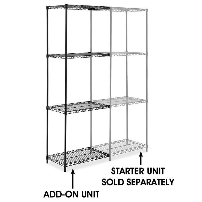 """Black Wire Shelving Add-On Unit - 30 x 18 x 86"""" H-8021-86A"""