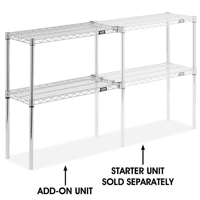"""Add-On Unit for Two-Shelf Wire Shelving - 30 x 12 x 34"""", Chrome H-8024-34AC"""