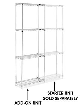"""Chrome Wire Shelving Add-On Unit - 30 x 12 x 86"""" H-8024-86A"""