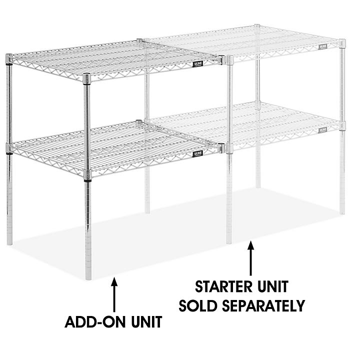 "Two-Shelf Wire Shelving Add-On Unit - 30 x 24 x 34"", Chrome H-8025-34AC"