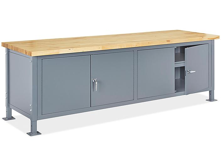 """Standard Cabinet Workbench - 96 x 30"""", Maple Top with Square Edge H-8205-MAPLE"""