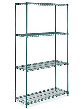 "Epoxy Wire Shelving Unit - 48 x 18 x 86"", Green H-8285G"