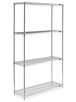 "Epoxy Wire Shelving Unit - 48 x 18 x 86"", Zinc H-8285Z"