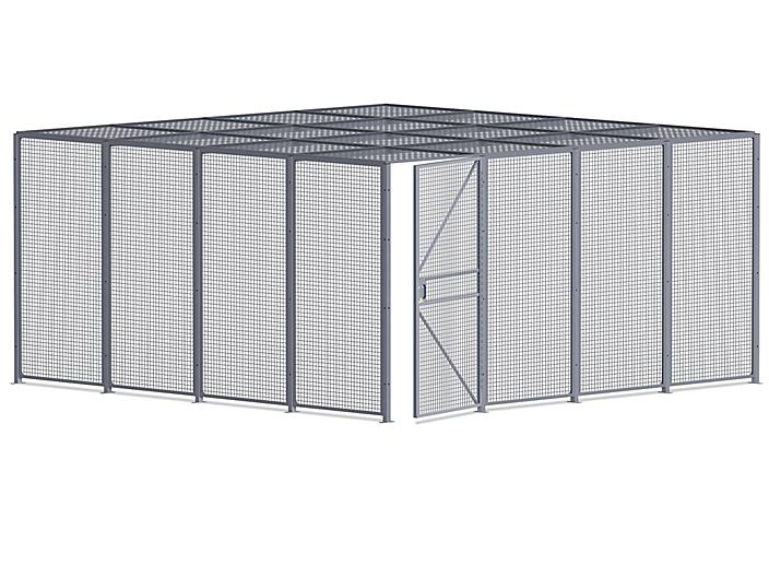 Wire Security Room with Roof - 16 x 16 x 8', 2-Sided H-8299-2