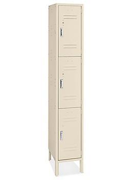 """Uline Three Tier Lockers - 1 Wide, Unassembled, 12"""" Wide, 12"""" Deep, Tan H-8342T"""