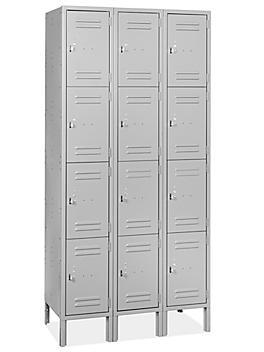 "Uline Four Tier Lockers - 3 Wide, Unassembled, 36"" Wide, 18"" Deep, Gray H-8343GR"