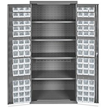 "Bin Storage Cabinet - 36 x 24 x 78"", 90 Clear Bins H-8345C"