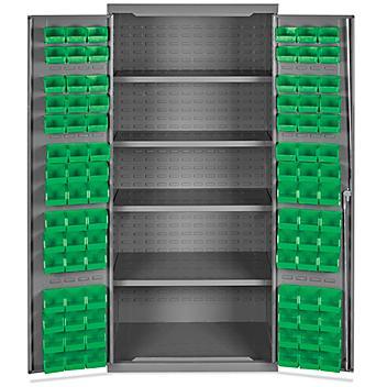 "Bin Storage Cabinet - 36 x 24 x 78"", 90 Green Bins H-8345G"