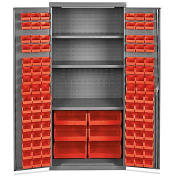 """Bin Storage Cabinet - 36 x 24 x 78"""", 102 Red Bins H-8346R"""