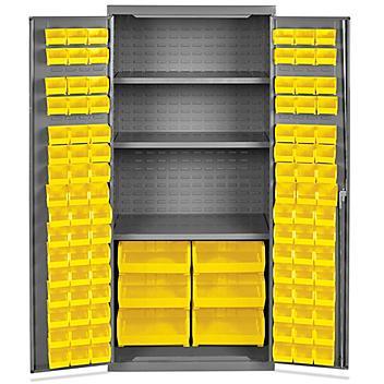 "Bin Storage Cabinet - 36 x 24 x 78"", 102 Yellow Bins H-8346Y"