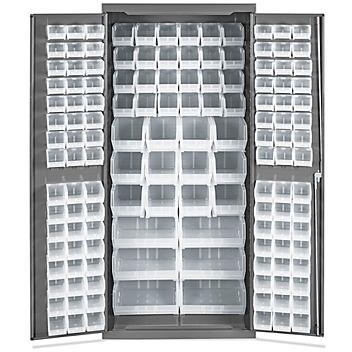 "Bin Storage Cabinet - 36 x 24 x 78"", 138 Clear Bins H-8347C"