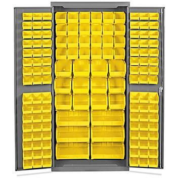 "Bin Storage Cabinet - 36 x 24 x 78"", 138 Yellow Bins H-8347Y"