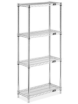 """Stainless Steel Wire Shelving Unit - 24 x 12 x 54"""" H-8389"""