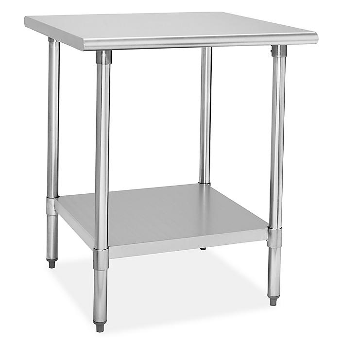 """Standard Stainless Steel Worktable with Bottom Shelf - 30 x 30"""" H-8449"""