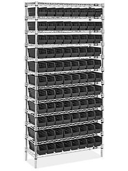 """Wire Shelf Bin Organizer - 36 x 12 x 72"""" with 4 x 12 x 4"""" Black Bins H-8476BL"""