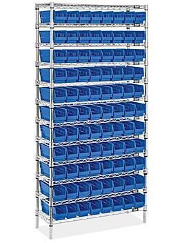 """Wire Shelf Bin Organizer - 36 x 12 x 72"""" with 4 x 12 x 4"""" Blue Bins H-8476BLU"""