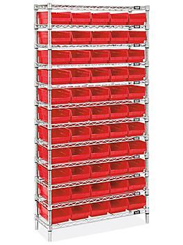 """Wire Shelf Bin Organizer - 36 x 12 x 72"""" with 7 x 12 x 4"""" Red Bins H-8477R"""