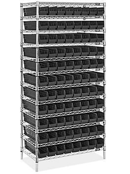 """Wire Shelf Bin Organizer - 36 x 18 x 72"""" with 4 x 18 x 4"""" Black Bins H-8478BL"""