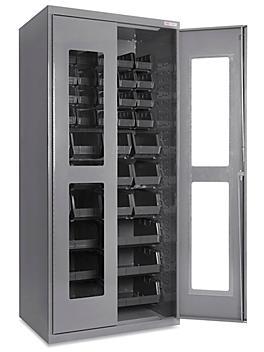 "Clear-View Bin Storage Cabinet - 36 x 24 x 78"", 42 Black Bins H-8481BL"