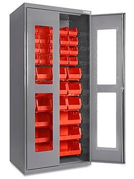 "Clear-View Bin Storage Cabinet - 36 x 24 x 78"", 42 Red Bins H-8481R"