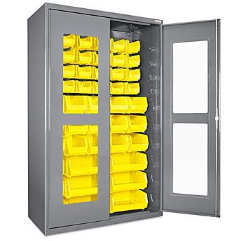 "Clear-View Bin Storage Cabinet - 48 x 24 x 78"", 48 Yellow Bins H-8483Y"