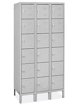 "Uline Deluxe Lockers - Six Tier, 3 Wide, Assembled, 36"" Wide, 18"" Deep H-8489"