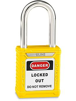 """Uline Lockout Padlock - Keyed Different, 1 1/2"""" Shackle, Yellow H-8621Y"""