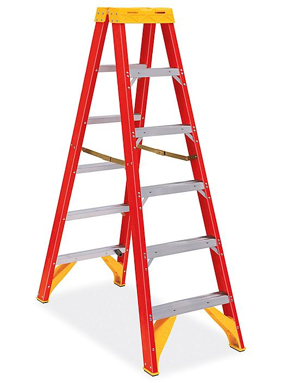 Fiberglass Twin Step Ladder - 6' H-8642