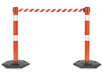 Hi-Vis Outdoor Crowd Control - Orange Post with Orange/White Belt H-8654