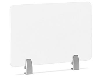 """Desktop Privacy Panel - Clamp-On, 24 x 15"""", Silver Brackets H-8867C-SIL"""