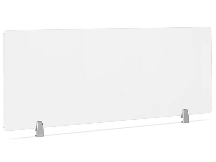 """Desktop Privacy Panel - Clamp-On, 60 x 24"""", Silver Brackets H-8873C-SIL"""