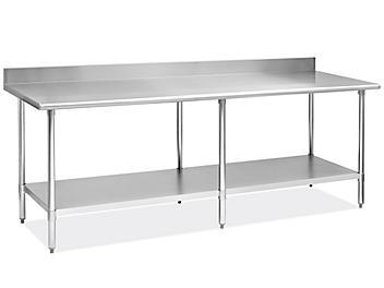 "Standard Stainless Steel Worktable with Backsplash and Bottom Shelf - 96 x 30"" H-8915"