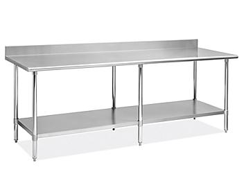 """Deluxe Stainless Steel Worktable with Backsplash and Bottom Shelf - 96 x 30"""" H-8917"""