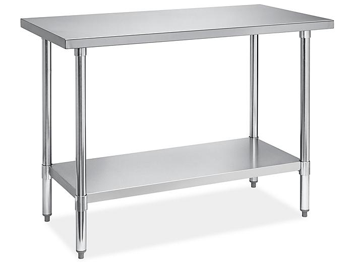 """Economy Stainless Steel Worktable with Bottom Shelf - 48 x 24"""" H-8963"""