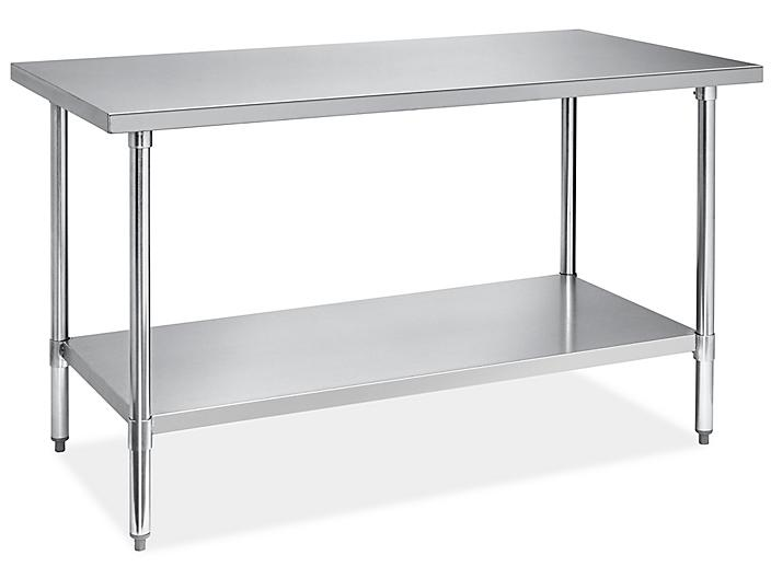"""Economy Stainless Steel Worktable with Bottom Shelf - 60 x 30"""" H-8964"""